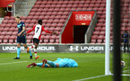 SOUTHAMPTON, ENGLAND - APRIL 23: Nathan Tella scores (left) for Southampton FC during the PL2 match between Southampton FC and Middlesbrough FC atSt Mary's Stadium on April 23, 2018 in Southampton, England. (Photo by James Bridle - Southampton FC/Southampton FC via Getty Images)