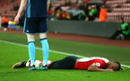 SOUTHAMPTON, ENGLAND - APRIL 23: Tyreke Johnson gets pushed to the floor (right) during the PL2 match between Southampton FC and Middlesbrough FC atSt Mary's Stadium on April 23, 2018 in Southampton, England. (Photo by James Bridle - Southampton FC/Southampton FC via Getty Images)
