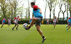 SOUTHAMPTON, ENGLAND - APRIL 24: Dusan Tadic (middle) during an open training session with Southampton FC at Staplewood Complex on April 24, 2018 in Southampton, England. (Photo by James Bridle - Southampton FC/Southampton FC via Getty Images)