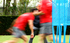 SOUTHAMPTON, ENGLAND - APRIL 24: Mark Hughes (middle) during an open training session with Southampton FC at Staplewood Complex on April 24, 2018 in Southampton, England. (Photo by James Bridle - Southampton FC/Southampton FC via Getty Images)