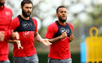SOUTHAMPTON, ENGLAND - APRIL 24: LtoR Charlie Austin, Ryan Bertrand during an open training session with Southampton FC at Staplewood Complex on April 24, 2018 in Southampton, England. (Photo by James Bridle - Southampton FC/Southampton FC via Getty Images)