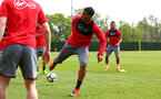 SOUTHAMPTON, ENGLAND - APRIL 24: Mario Lemina (middle) during an open training session with Southampton FC at Staplewood Complex on April 24, 2018 in Southampton, England. (Photo by James Bridle - Southampton FC/Southampton FC via Getty Images)