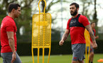 SOUTHAMPTON, ENGLAND - APRIL 24: Charlie Austin (right) during an open training session with Southampton FC at Staplewood Complex on April 24, 2018 in Southampton, England. (Photo by James Bridle - Southampton FC/Southampton FC via Getty Images)