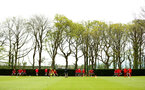 SOUTHAMPTON, ENGLAND - APRIL 24: Southampton FC players warm up during an open training session with Southampton FC at Staplewood Complex on April 24, 2018 in Southampton, England. (Photo by James Bridle - Southampton FC/Southampton FC via Getty Images)