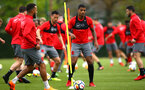 SOUTHAMPTON, ENGLAND - APRIL 26: Mario Lemina (middle) during a Southampton FC training session at Staplewood Complex on April 26, 2018 in Southampton, England. (Photo by James Bridle - Southampton FC/Southampton FC via Getty Images)