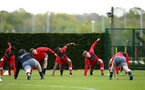 SOUTHAMPTON, ENGLAND - APRIL 26: Players warming up during a Southampton FC training session at Staplewood Complex on April 26, 2018 in Southampton, England. (Photo by James Bridle - Southampton FC/Southampton FC via Getty Images)