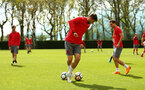 SOUTHAMPTON, ENGLAND - APRIL 26: Jack Stephens (middle) during a Southampton FC training session at Staplewood Complex on April 26, 2018 in Southampton, England. (Photo by James Bridle - Southampton FC/Southampton FC via Getty Images)