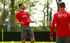 SOUTHAMPTON, ENGLAND - APRIL 26: Wesley Hoedt (left) during a Southampton FC training session at Staplewood Complex on April 26, 2018 in Southampton, England. (Photo by James Bridle - Southampton FC/Southampton FC via Getty Images)