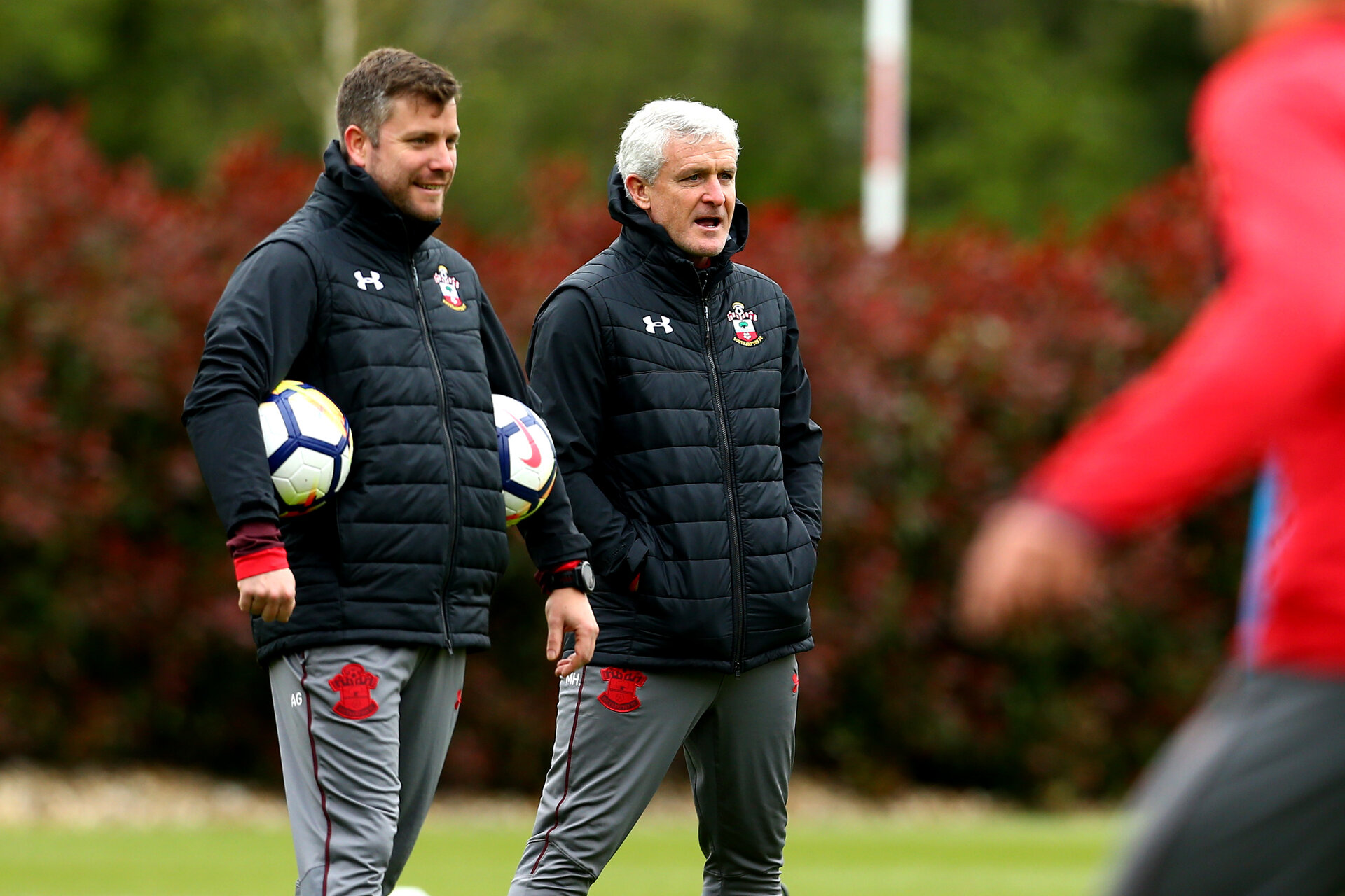 SOUTHAMPTON, ENGLAND - APRIL 30: LtoR Alek Gross, Mark Hughes during a Southampton FC Training session at Staplewood Complex on April 30, 2018 in Southampton, England. (Photo by James Bridle - Southampton FC/Southampton FC via Getty Images)