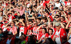 LIVERPOOL, ENGLAND - MAY 05: Saints fans during the Premier League match between Everton and Southampton at Goodison Park on May 5, 2018 in Liverpool, England. (Photo by Matt Watson/Southampton FC via Getty Images)