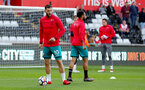 SWANSEA, WALES - MAY 08: Charlie Austin of Southampton warms up ahead of the Premier League match between Swansea City and Southampton at Liberty Stadium on May 8, 2018 in Swansea, Wales. (Photo by Matt Watson/Southampton FC via Getty Images)