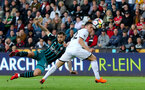 SWANSEA, WALES - MAY 08: Charlie Austin of Southampton shoots at goal during the Premier League match between Swansea City and Southampton at Liberty Stadium on May 8, 2018 in Swansea, Wales. (Photo by Matt Watson/Southampton FC via Getty Images)