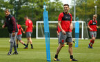 SOUTHAMPTON, ENGLAND - MAY 11: Dusan Tadic (right) during a Southampton FC training session at Staplewood Complex on May 11, 2018 in Southampton, England. (Photo by James Bridle - Southampton FC/Southampton FC via Getty Images)