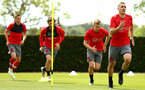 SOUTHAMPTON, ENGLAND - MAY 11: LtoR WIll Smallbone, Manolo Gabbiadini, James Ward-Prowse, Oriol Romeu during a Southampton FC training session at Staplewood Complex on May 11, 2018 in Southampton, England. (Photo by James Bridle - Southampton FC/Southampton FC via Getty Images)