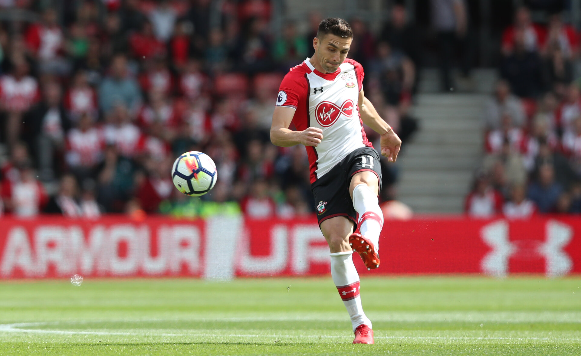 SOUTHAMPTON, ENGLAND - MAY 13: Dusan Tadic of Southampton during the Premier League match between Southampton and Manchester City at St Mary's Stadium on May 13, 2018 in Southampton, England. (Photo by Matt Watson/Southampton FC via Getty Images)