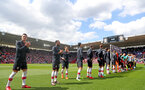 SOUTHAMPTON, ENGLAND - MAY 13: Southampton players line up ahead of the Premier League match between Southampton and Manchester City at St Mary's Stadium on May 13, 2018 in Southampton, England. (Photo by Matt Watson/Southampton FC via Getty Images)