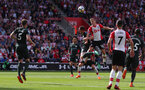 SOUTHAMPTON, ENGLAND - MAY 13: James Ward-Prowse of Southampton heads at goal during the Premier League match between Southampton and Manchester City at St Mary's Stadium on May 13, 2018 in Southampton, England. (Photo by Matt Watson/Southampton FC via Getty Images)