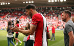 SOUTHAMPTON, ENGLAND - MAY 13: Wesley Hoedt. Lap of appreciation after the Premier League match between Southampton and Manchester City at St Mary's Stadium on May 13, 2018 in Southampton, England. (Photo by Chris Moorhouse/Southampton FC via Getty Images)