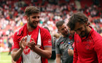 SOUTHAMPTON, ENGLAND - MAY 13: Jack Stephens and Manolo Gabbiadini. Lap of appreciation after the Premier League match between Southampton and Manchester City at St Mary's Stadium on May 13, 2018 in Southampton, England. (Photo by Chris Moorhouse/Southampton FC via Getty Images)
