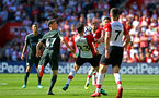 SOUTHAMPTON, ENGLAND - MAY 13: Pierre-Emile H¿jbjerg of Southampton FC  (middle) saves the ball with his chest during the Premier League match between Southampton and Manchester City at St Mary's Stadium on May 13, 2018 in Southampton, England. (Photo by James Bridle - Southampton FC/Southampton FC via Getty Images) SOUTHAMPTON, ENGLAND - MAY 13: Pierre-Emile Højbjerg of Southampton FC  (middle) saves the ball with his chest during the Premier League match between Southampton and Manchester City at St Mary's Stadium on May 13, 2018 in Southampton, England. (Photo by James Bridle - Southampton FC/Southampton FC via Getty Images)