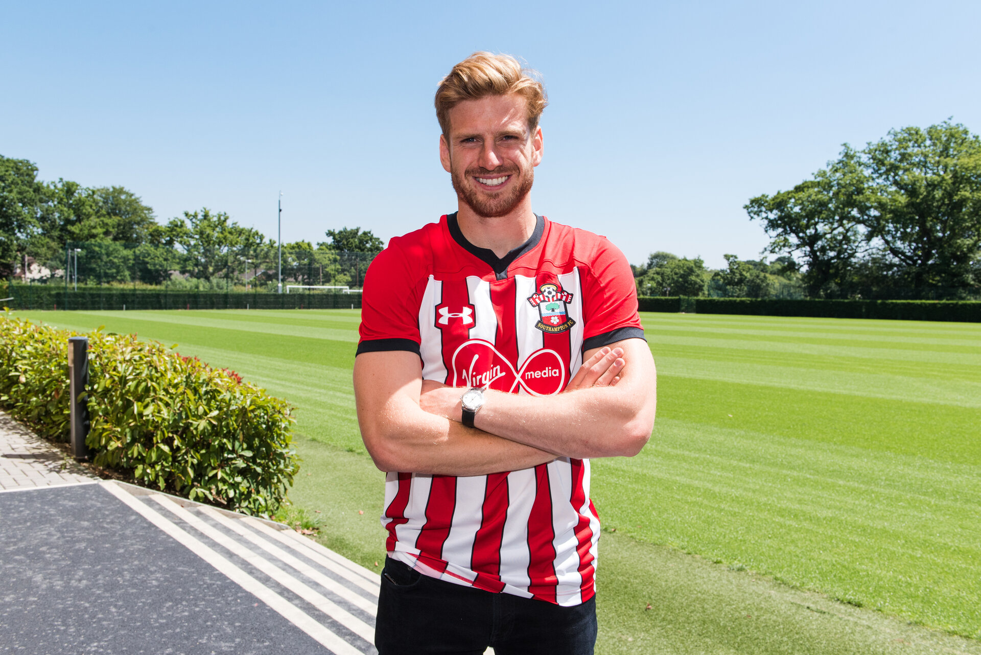 SOUTHAMPTON, ENGLAND - JUNE 26: Southampton FC Sign Stuart Armstrong from Celtic on June 26, 2018 pictured at Staplewood Complex in Southampton, England. (Photo by James Bridle - Southampton FC/Southampton FC via Getty Images)