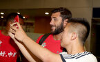 Southampton FC arrive at Shanghai airport, China, to begin their 2 week pre-season tour, Charlie Austin with fans, 1st July 2018