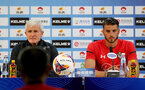 Mark Hughes(L) and Wesley Hoedt during a Southampton FC press conference ahead of their game against FC Shalke, at the Kunshan Sports Stadium, China, Kunshan, Shanghai, China, 4th July 2018