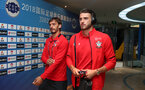 KUNSHAN, CHINA - JULY 05: Manolo Gabbiadini(L) and Wesley Hoedt of Southampton ahead of the pre season 2018 Clubs Super Cup match between Southampton FC and FC Schalke, at Kunshan Sports Center on July 5, 2018 in Kunshan, China. (Photo by Matt Watson/Southampton FC via Getty Images)