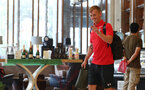 SHANGHAI, CHINA - JULY 08: James Ward-Prowse leaves the team hotel as Southampton FC players travel from Kunshan to Xuzhou while on their pre season tour of China, on July 8, 2018 in Shanghai, China. (Photo by Matt Watson/Southampton FC via Getty Images)