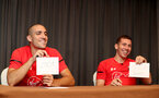 SHANGHAI, CHINA - JULY 09: Oriol Romeu(L) and Pierre-Emile Hojbjerg take part in Chinese themed games while on their pre season tour of China, on July 9, 2018 in Xuzhou, China. (Photo by Matt Watson/Southampton FC via Getty Images)