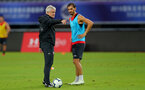 SHANGHAI, CHINA - JULY 09: Mark Hughes(L) and Manolo Gabbiadini during a Southampton FC training session, while on their pre season tour of China, on July 6, 2018 in Xuzhou, China. (Photo by Matt Watson/Southampton FC via Getty Images)