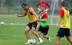SHANGHAI, CHINA - JULY 10: Manolo Gabbiadini(L) and Harrison Reed during a Southampton FC training session, while on their pre season tour of China, on July 10, 2018 in Xuzhou, China. (Photo by Matt Watson/Southampton FC via Getty Images)