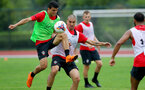 SHANGHAI, CHINA - JULY 10: Mohamed Elyounoussi(L) and Oriol Romeu during a Southampton FC training session, while on their pre season tour of China, on July 10, 2018 in Xuzhou, China. (Photo by Matt Watson/Southampton FC via Getty Images)