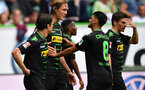 WOLFSBURG, GERMANY - MAY 13:  Jannik Vestergaard of Gladbach celebrates scoring his goal during the Bundesliga match between VfL Wolfsburg and Borussia Moenchengladbach at Volkswagen Arena on May 13, 2017 in Wolfsburg, Germany.  (Photo by Stuart Franklin/Bongarts/Getty Images)