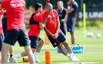 SOUTHAMPTON, ENGLAND - JULY 16: Mohamed Elyounoussi(L) and Oriol Romeu during a Southampton FC training session at the Staplewood Campus on July 16, 2018 in Southampton, England. (Photo by Matt Watson/Southampton FC via Getty Images)