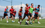 EVIAN-LES-BAINS, FRANCE - JULY 24: Players run in the heat during day 2 of Southampton FC's pre-season training camp on July 24, 2018 in Evian-les-Bains, France. (Photo by Matt Watson/Southampton FC via Getty Images)