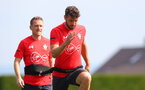 EVIAN-LES-BAINS, FRANCE - JULY 25: Steven Davis(L) and Sam McQueen during day 3 of Southampton FC's pre-season training camp, on July 25, 2018 in Evian-les-Bains, France. (Photo by Matt Watson/Southampton FC via Getty Images)