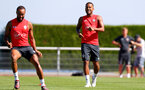 EVIAN-LES-BAINS, FRANCE - JULY 27: Nathan Redmond(L) and Ryan Bertrand during Southampton FC's pre season training camp, on July 27, 2018 in Evian-les-Bains, France. (Photo by Matt Watson/Southampton FC via Getty Images)