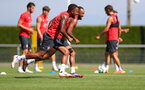 EVIAN-LES-BAINS, FRANCE - JULY 27: Ryan Bertrand(L) and Nathan Redmond during Southampton FC's pre season training camp, on July 27, 2018 in Evian-les-Bains, France. (Photo by Matt Watson/Southampton FC via Getty Images)