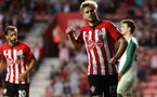 SOUTHAMPTON, ENGLAND - AUGUST 01: Stuart Armstrong of Southampton FC celebrates his goal during the pre-season friendly match between Southampton and Celta Vigo at St Mary's Stadium on August 1, 2018 in Southampton, England. (Photo by Chris Moorhouse/Southampton FC via Getty Images)
