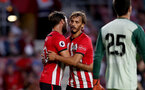 SOUTHAMPTON, ENGLAND - AUGUST 01: Charlie Austin(L) and Manolo Gabbiaidini of Southampton FC during the pre-season friendly match between Southampton and Celta Vigo at St Mary's Stadium on August 1, 2018 in Southampton, England. (Photo by Matt Watson/Southampton FC via Getty Images)
