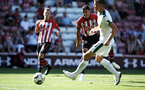 SOUTHAMPTON, ENGLAND - AUGUST 04: Mohamed Elyounoussi (middle) shoots for Southampton FC during the Pre-Season friendly match between Southampton FC and Borussia Mšnchengladbach pictured at St Mary's Stadium on August 4, 2018 in Southampton, England. (Photo by James Bridle - Southampton FC/Southampton FC via Getty Images) SOUTHAMPTON, ENGLAND - AUGUST 04: Mohamed Elyounoussi (middle) shoots for Southampton FC during the Pre-Season friendly match between Southampton FC and Borussia Mönchengladbach pictured at St Mary's Stadium on August 4, 2018 in Southampton, England. (Photo by James Bridle - Southampton FC/Southampton FC via Getty Images)