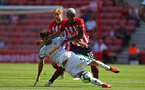 SOUTHAMPTON, ENGLAND - AUGUST 04: Mario Lemina (right) during the Pre-Season friendly match between Southampton FC and Borussia Mšnchengladbach pictured at St Mary's Stadium on August 4, 2018 in Southampton, England. (Photo by James Bridle - Southampton FC/Southampton FC via Getty Images) SOUTHAMPTON, ENGLAND - AUGUST 04: Mario Lemina (right) during the Pre-Season friendly match between Southampton FC and Borussia Mönchengladbach pictured at St Mary's Stadium on August 4, 2018 in Southampton, England. (Photo by James Bridle - Southampton FC/Southampton FC via Getty Images)