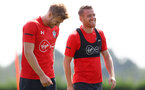 SOUTHAMPTON, ENGLAND - AUGUST 07: Stuart Armstrong(L) and Steven Davis during a Southampton FC training session at the Staplewood Campus on August 7, 2018 in Southampton, England. (Photo by Matt Watson/Southampton FC via Getty Images)