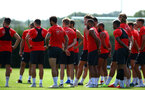 SOUTHAMPTON, ENGLAND - AUGUST 07: Southampton FC players in a brief with Mark Hughes during a Southampton FC training session at Staplewood Complex on August 7, 2018 in Southampton, England. (Photo by James Bridle - Southampton FC/Southampton FC via Getty Images)