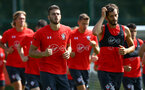 SOUTHAMPTON, ENGLAND - AUGUST 07: LtoR Wesley Hoedt, Manolo Gabbiadini during a Southampton FC  training session at Staplewood Complex on August 7, 2018 in Southampton, England. (Photo by James Bridle - Southampton FC/Southampton FC via Getty Images)