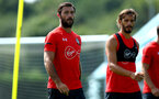 SOUTHAMPTON, ENGLAND - AUGUST 07: LtoR Charlie Austin, Manolo Gabbiadini during a Southampton FC training session at Staplewood Complex on August 7, 2018 in Southampton, England. (Photo by James Bridle - Southampton FC/Southampton FC via Getty Images)