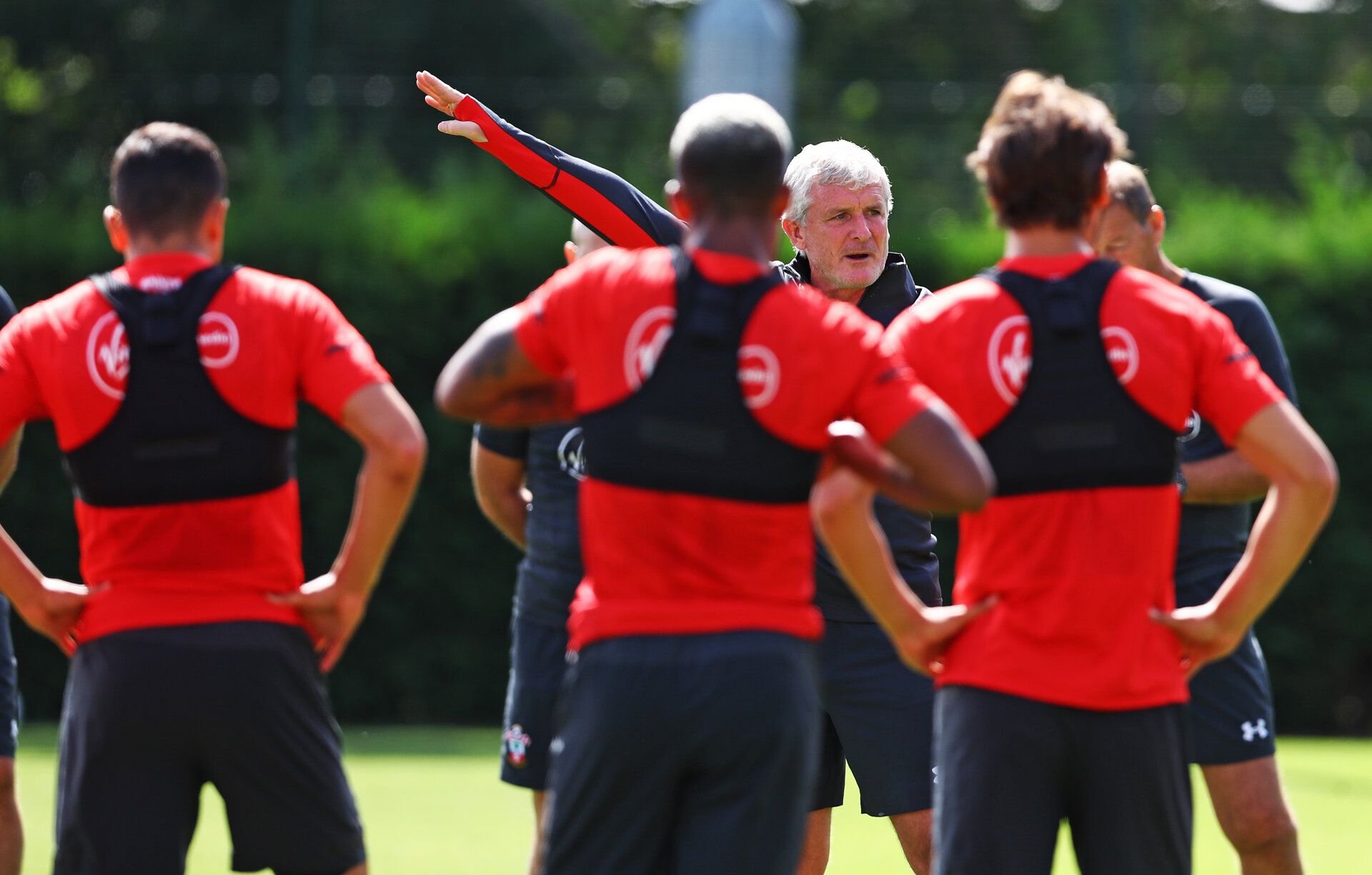 SOUTHAMPTON, ENGLAND - AUGUST 08: Mark Hughes during a Southampton FC training session at The Staplewood Campus on August 8, 2018 in Southampton, England. (Photo by Matt Watson/Southampton FC via Getty Images)