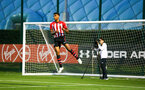SOUTHAMPTON, ENGLAND - AUGUST 10: Marcus Barnes celebrates (middle) after scoring during the PL2 match between Southampton FC vs Middlesbrough FC pictured at Staplewood Complex on August 10, 2018 in Southampton, England. (Photo by James Bridle - Southampton FC/Southampton FC via Getty Images)