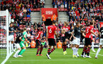 SOUTHAMPTON, ENGLAND - AUGUST 12: an almost own goal by Ben Mee from Burnely FC during the Premier League match between Southampton FC and Burnley FC at St Mary's Stadium on August 12, 2018 in Southampton, United Kingdom. (Photo by James Bridle - Southampton FC/Southampton FC via Getty Images)